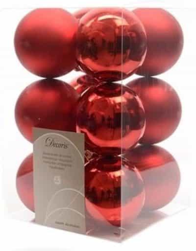 Kerstballen mix rood