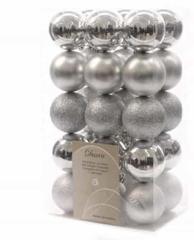 Decoratie kerstballen mix zilver