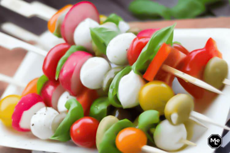 recept met mozzarella tomaat basilicum spiesjes