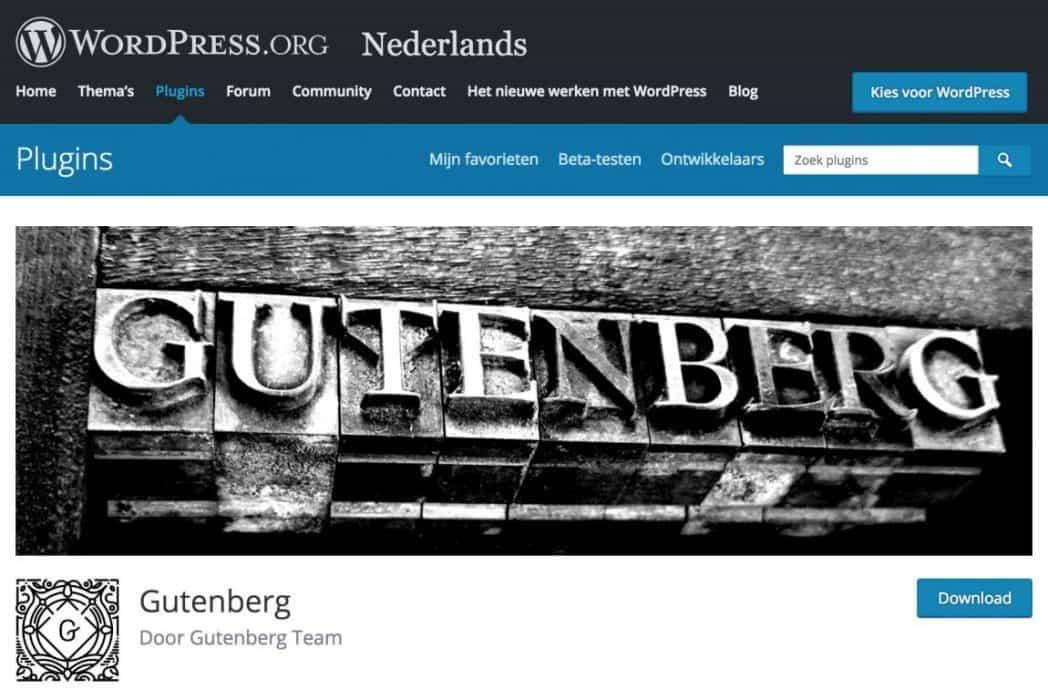 download Gutenberg plugin voor WordPress