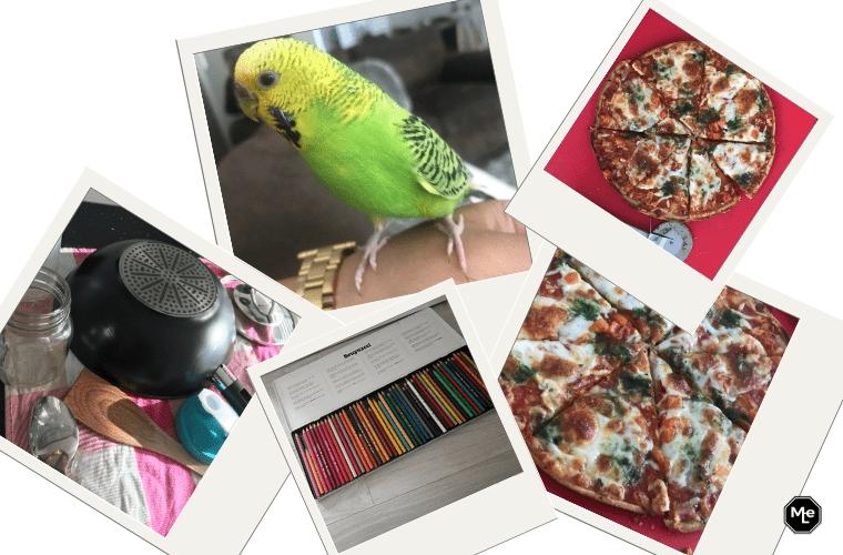 snoepie, potloden en pizza