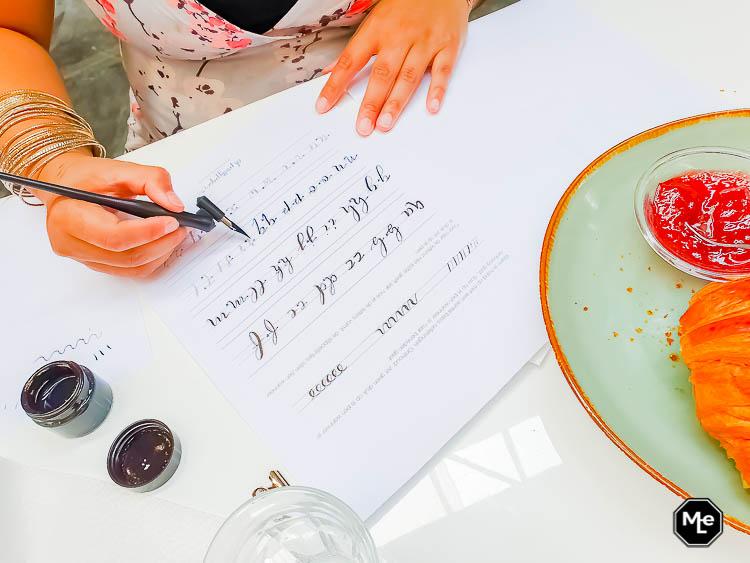 kalligrafie oefeningen close-up