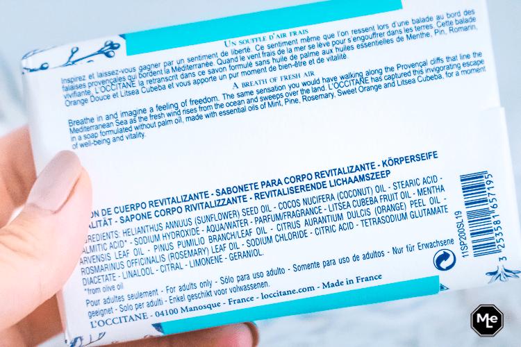 L' occitane Home Collectie Souffle de Liberté lichaamszeep ingredienten