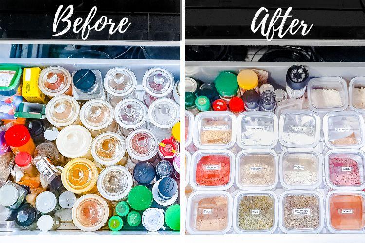 kruiden opbergen in de keuken lade before and after