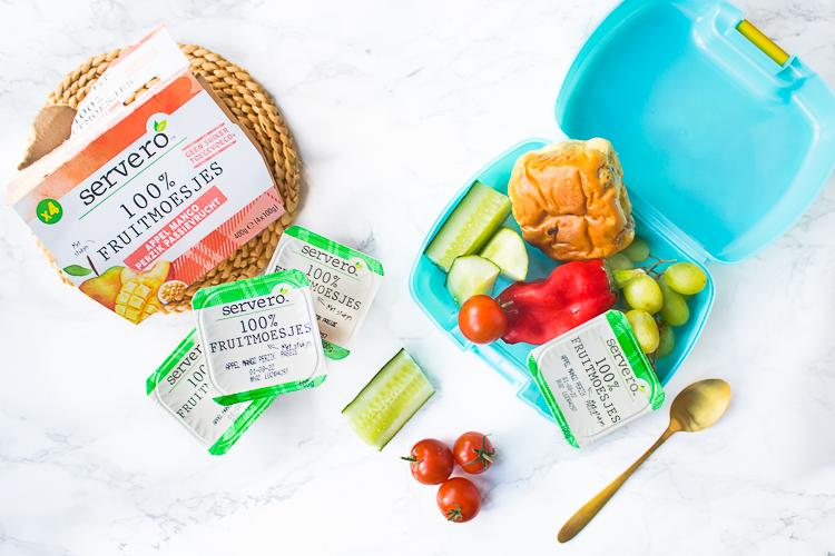 Gezonde broodtrommel Servero 100% Fruitmoesjes - Appel mango perzik passievrucht